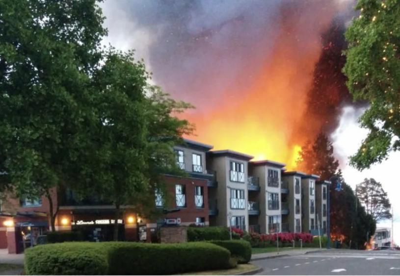當年的火警現場。 CBC資料圖片