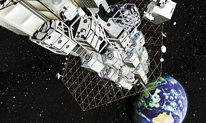 畫家筆下的太空電梯想像圖。網上圖片