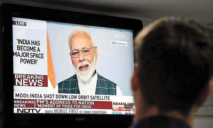 印度總理莫迪27日發表全國電視演說,宣布印度當天成功擊落一枚低軌道衛星,躋身「太空超級大國」行列。法新社