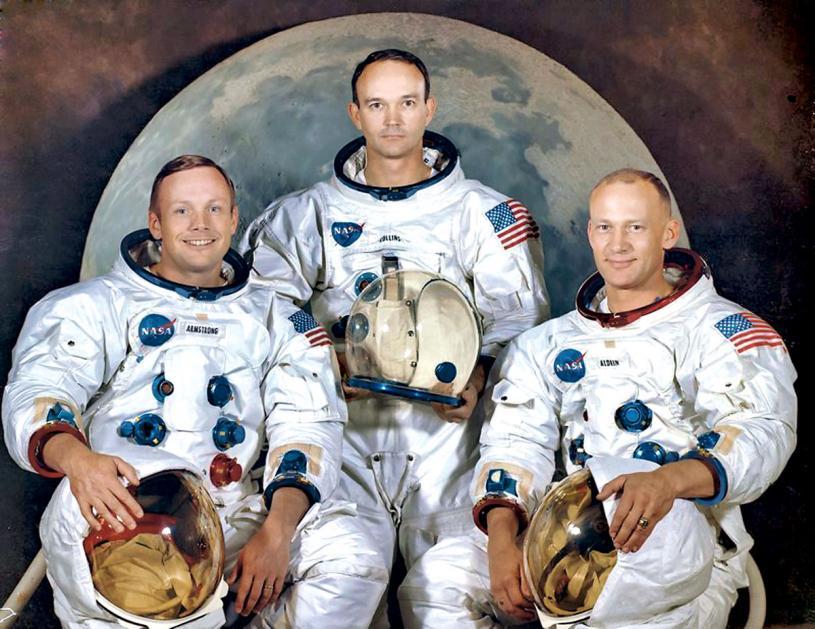■首次登月的三雄。左起:杭思朗、哥連斯、艾德寧。網上圖片