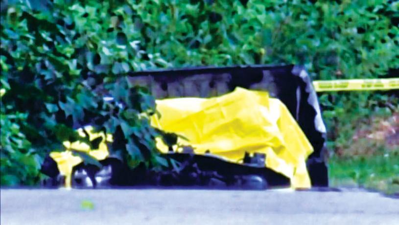 ■蘭里皇家騎警周二在一輛燃燒的汽車中發現一具屍體。 CTV