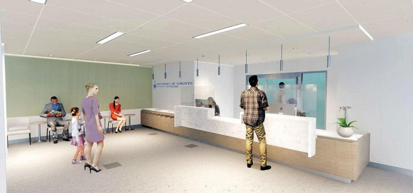 ■將於今秋啟用的多大學牙醫學院衛星牙科診所接待處設計圖。多大網站