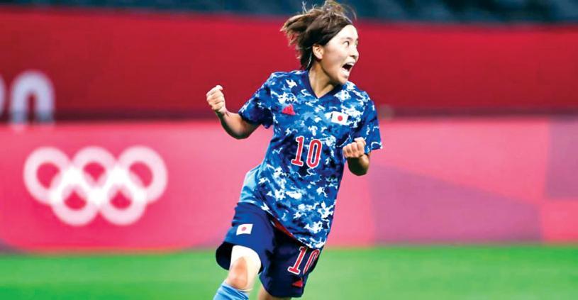 ■岩渊法力打进一球为日本队扳平,欢呼庆祝。Getty Images