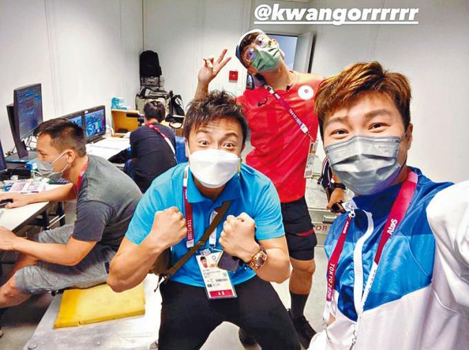 小方在東京多日,終在傳媒中心遇上坤哥及周奕瑋。