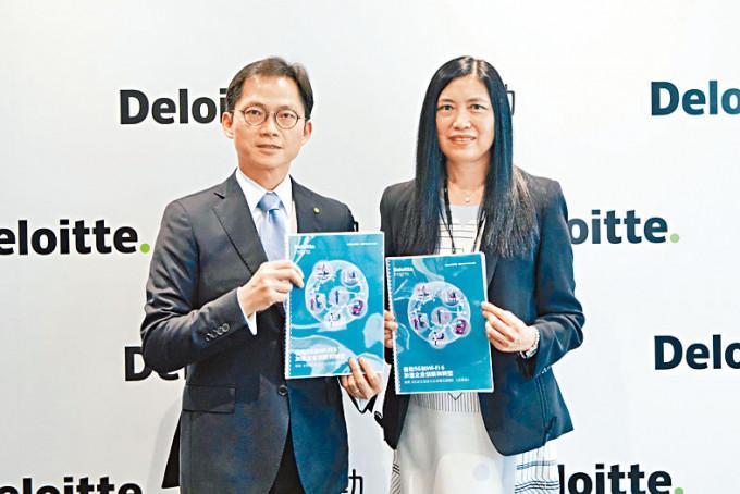 德勤中國副主席兼科技、傳媒和電信行業主管合夥人林國恩(左)表示,疫情促使企業加速在無綫網絡方面的投資。