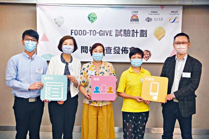 聖雅各福群會總幹事李玉芝(左二)指,電子化為領取食物人士帶來方便。
