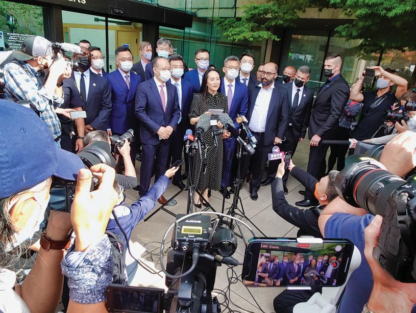 ■在法律團隊陪同下,孟晚舟發表獲釋聲明。星島記者攝
