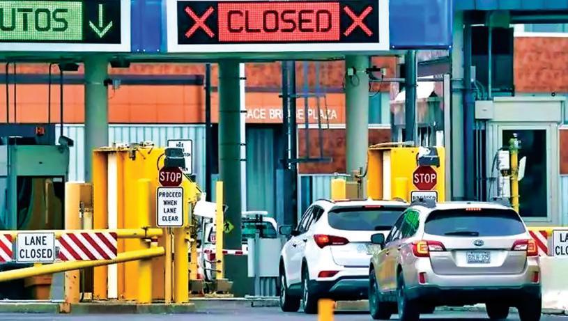 ■美國仍然封鎖陸路邊境,加拿大人不能跨境購物。星島資料圖片
