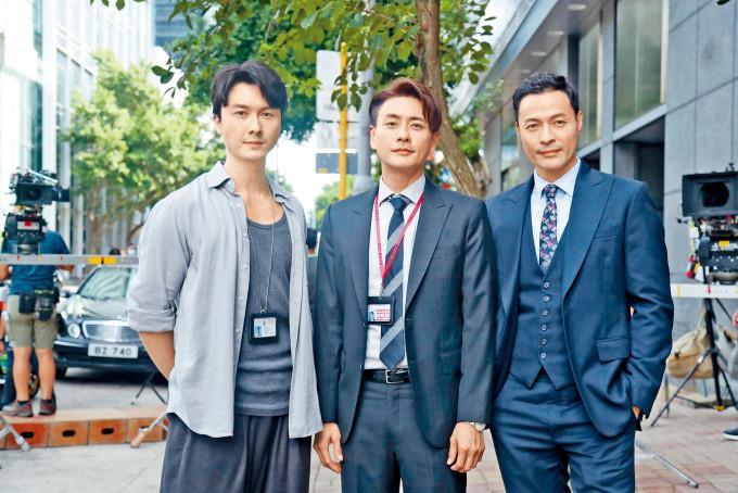 王浩信、黃宗澤、張達倫捱熱拍外景戲。
