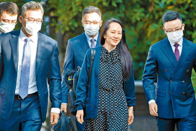 华为公司副董事长孟晚舟离开温哥华寓所,出席视像聆讯。
