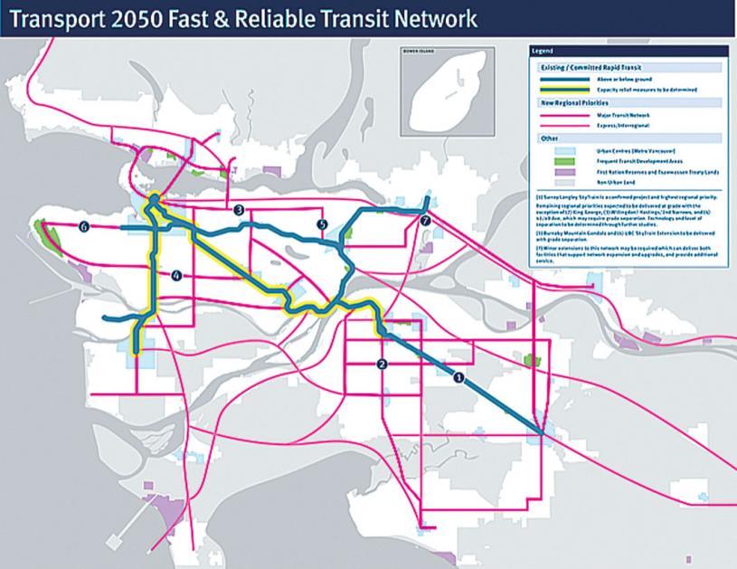 ■大溫地區計劃增設七條主要快速交通線路規劃。運聯提供