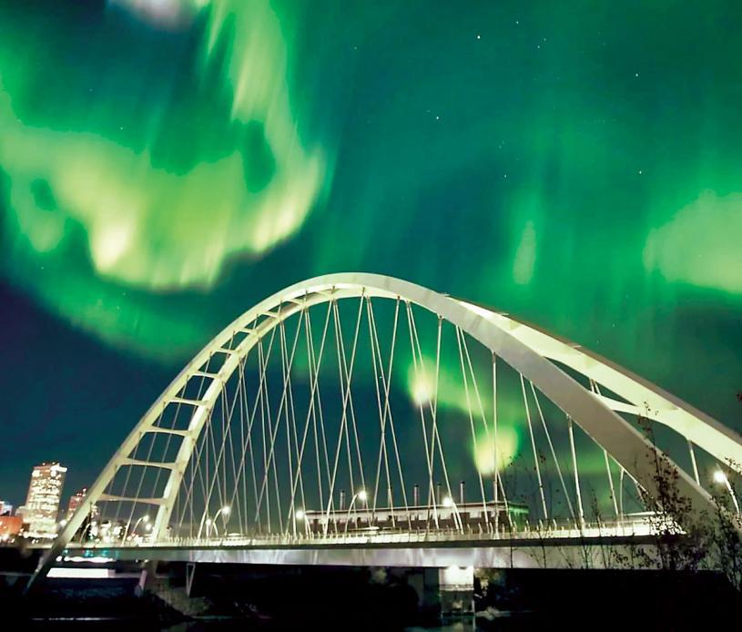 ■愛民頓上空的北極光。  Spencer Vandermeer提供