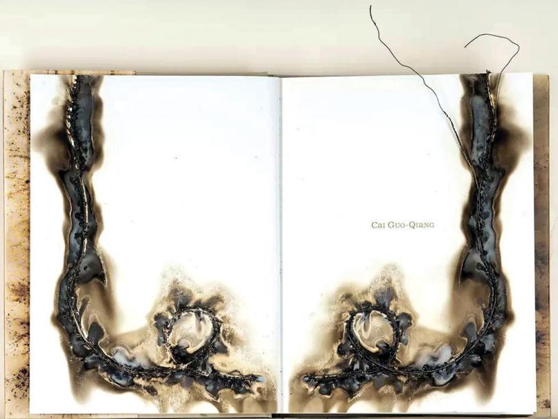 ■《蔡國强圖錄》扉頁火藥畫。受訪者提供