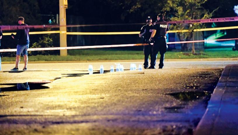 ■警方在現場檢獲多個彈殼。CP24
