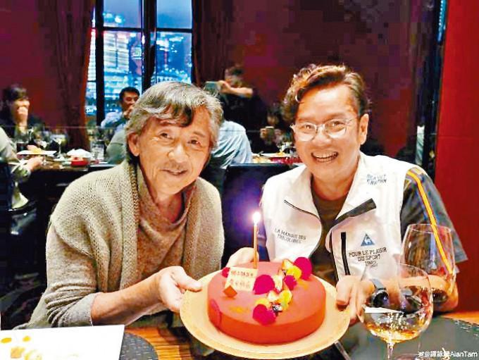 難得同在上海,阿倫當然約林子祥慶祝。