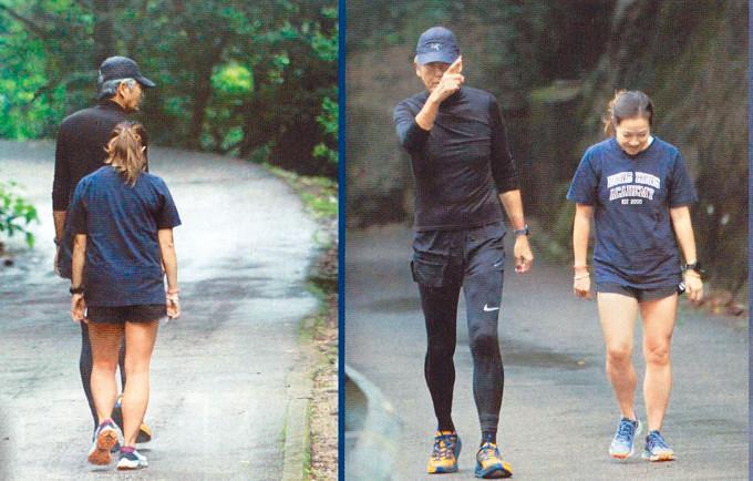 當日發哥與女友人結伴跑步,但天公不作美,兩人未能跑完全程。
